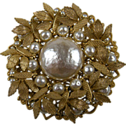 Miriam Haskell Brooch with Imitation Baroque Pearl Book Piece