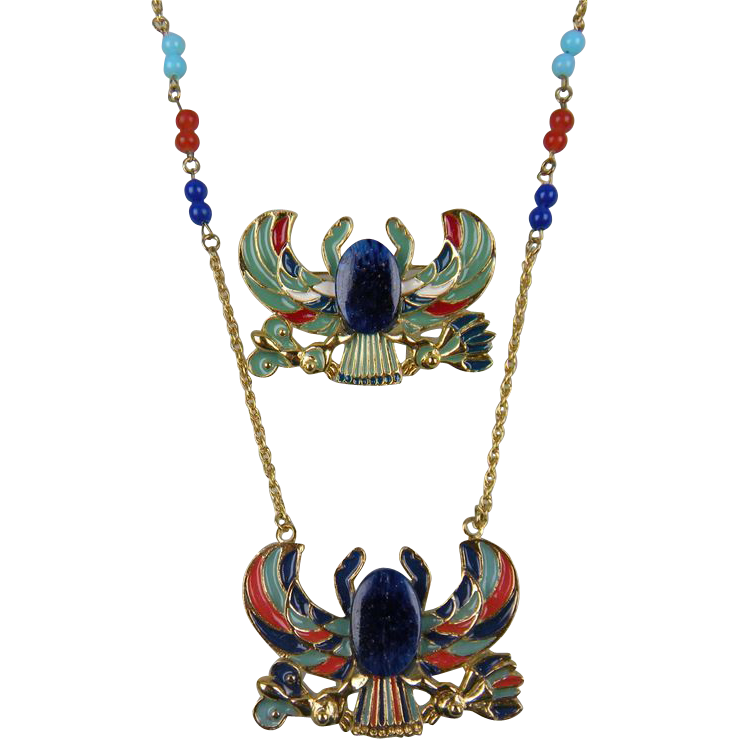 SPHINX Egyptian Revival Set Necklace and Brooch