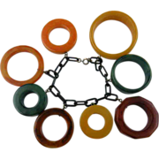 Extraordinary Bakelite Bracelet with Large Rings