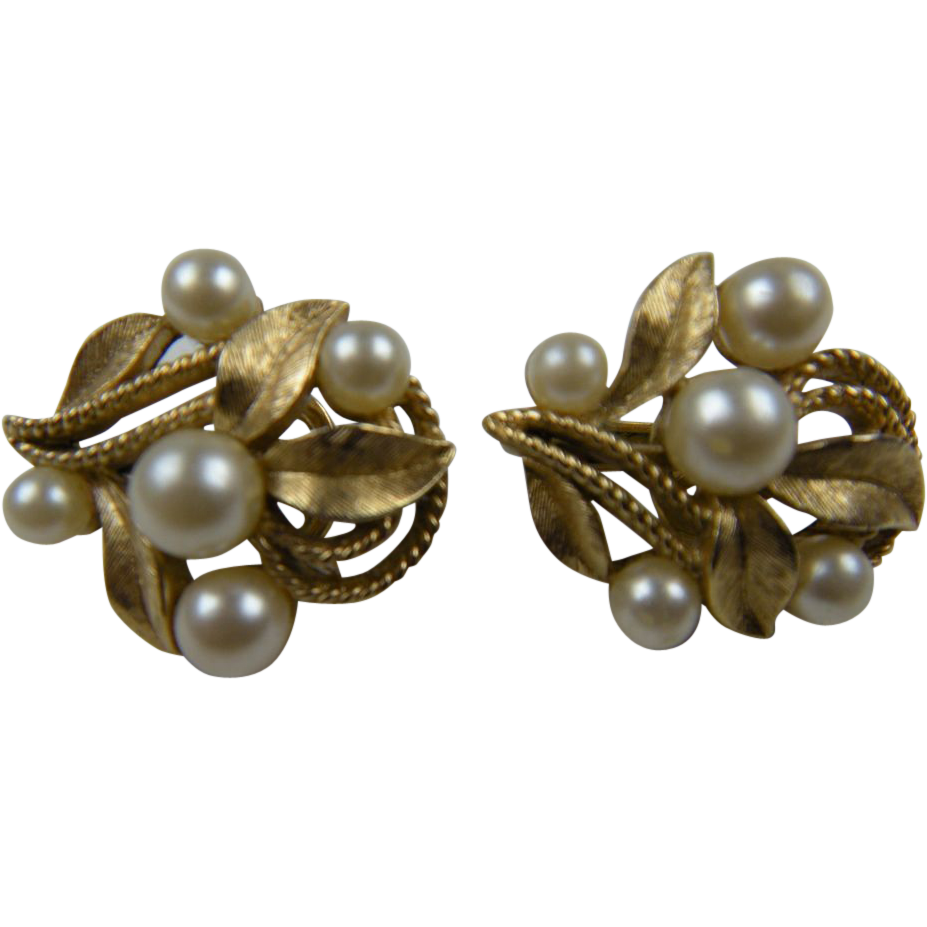 Signed TRIFARI Earrings with Imitation Pearls