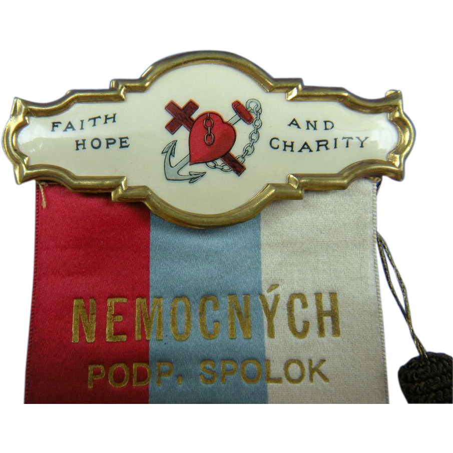 Faith, Hope, and Charity 1904 Brooch with Ribbon