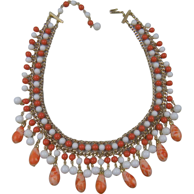 Dangling Bead Glass Bib Necklace Signed  Book Piece