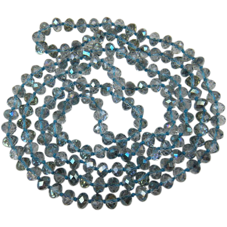 Hand Knotted Glass Crystal Bead Necklace Extra Long