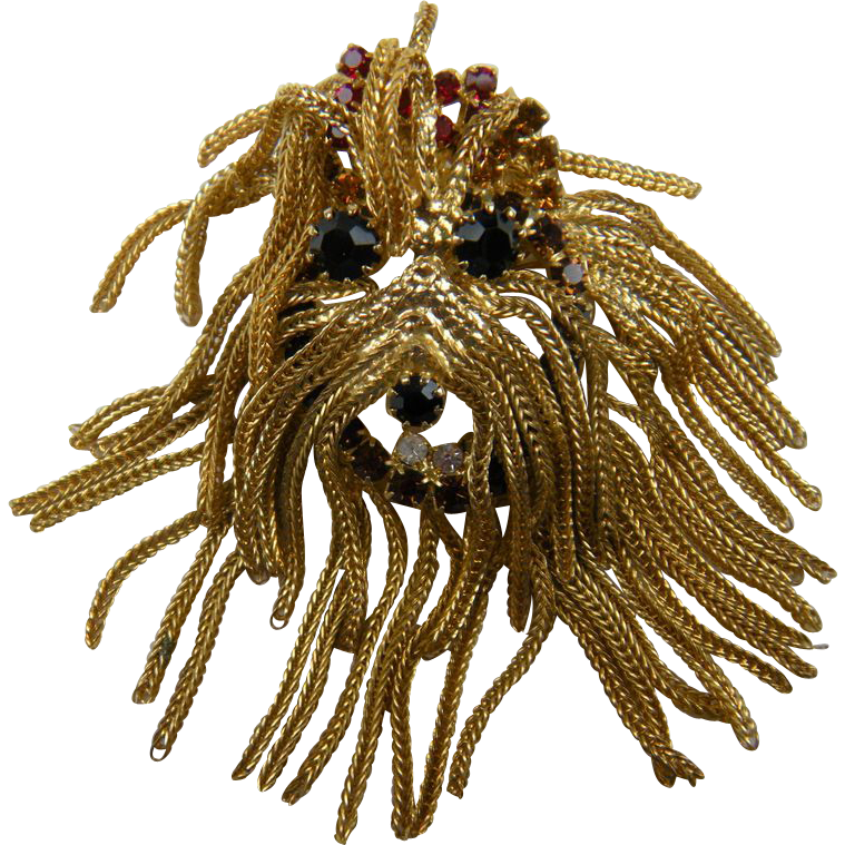 """Shaggy Dog"" Brooch with Chain and Rhinestone Trim"