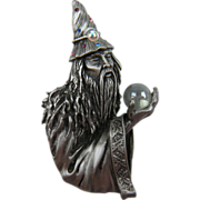 SALE Signed JJ Fantastic Crystal Gazer Wizard Brooch Huge Book Piece