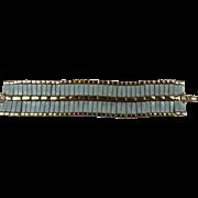 Signed Hobe' Wide Enameled Bracelet