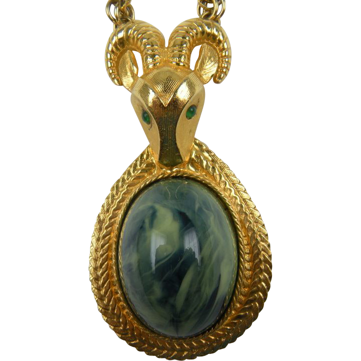 1970's Ram Necklace with Giant Imitation Jade Cabochon