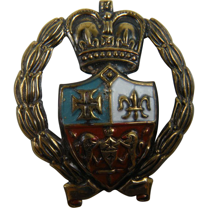 Heraldic Symbols Wreath Brooch with Crown