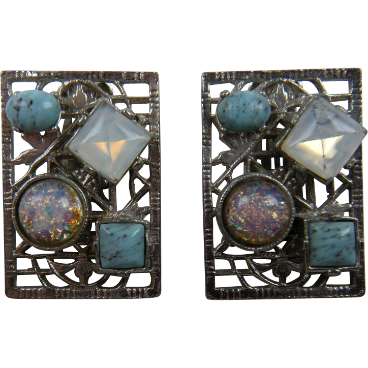 Colorful Silver Tone Clip Style Earrings