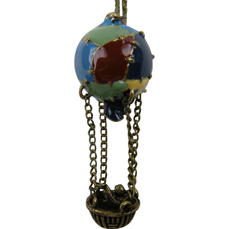 Unique Enameled Hot Air Balloon Pendant Necklace with Bird in Basket
