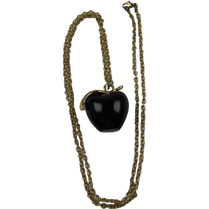 SALE Unsigned Kenneth J. Lane Resin Apple Necklace with Rhinestones