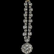 Exquisite Art Deco Pendant Necklace Pot Metal with Huge Rhinestones
