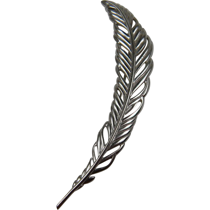 Signed MONET Huge Silver-Plated Feather Brooch