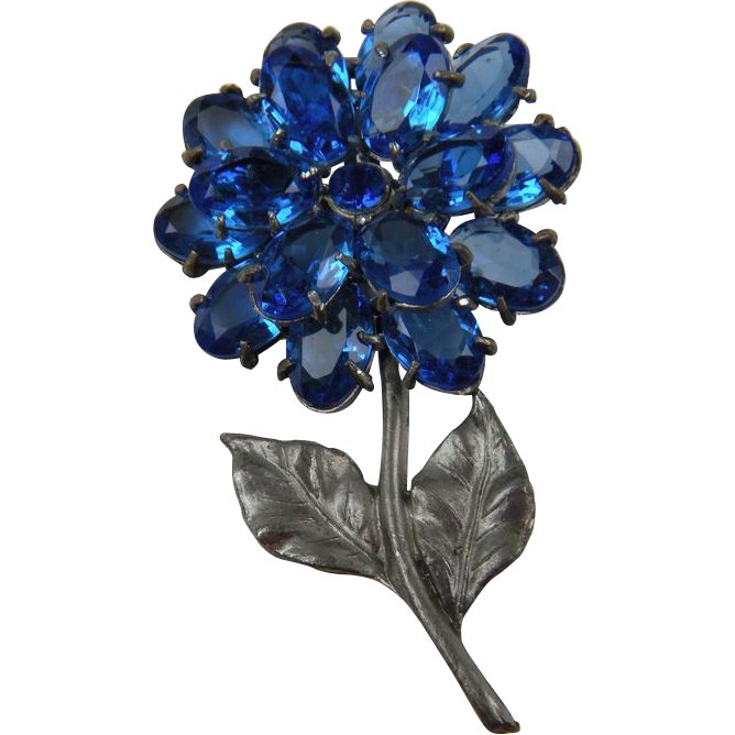 Enormous 1930's Pot Metal Flower Brooch with Rhinestones