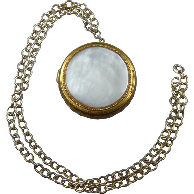 Mother-of-Pearl and Brass Container Locket on Chain