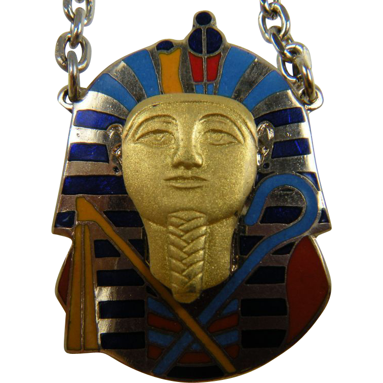 Signed CLOISART Egyptian Revival Pendant King Tut