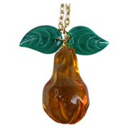 Whimsical Lucite Pear Pendant with 26 inch Chain