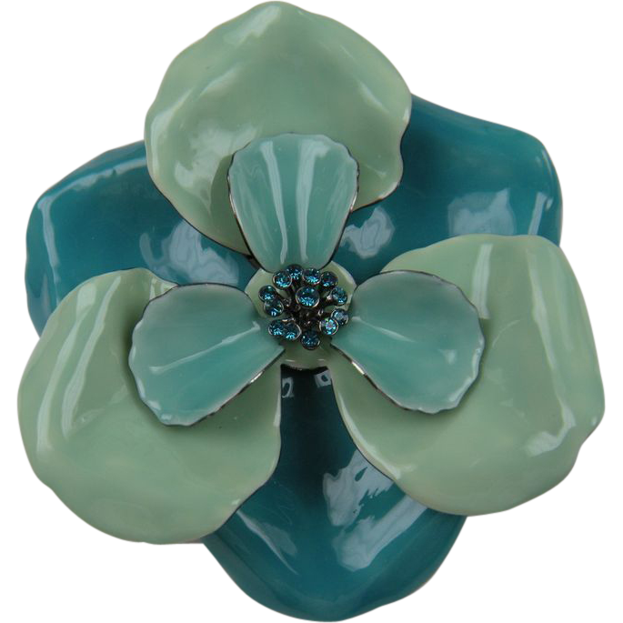 Enormous Flower Power Mod Brooch with Rhinestones