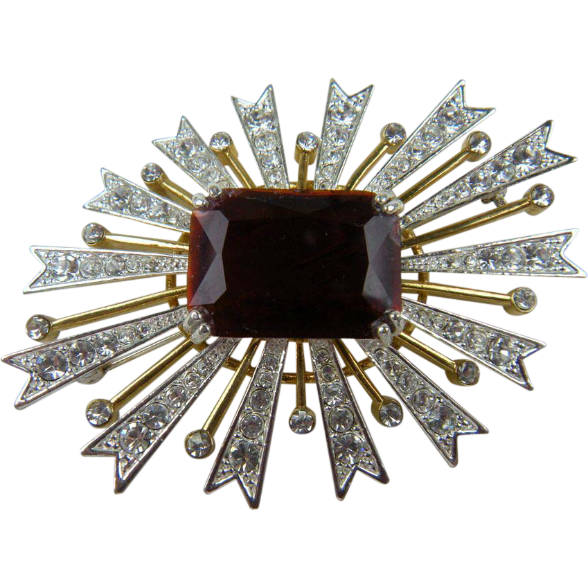 Breathtaking Signed KJL (Kenneth Jay Lane) Starburst Brooch