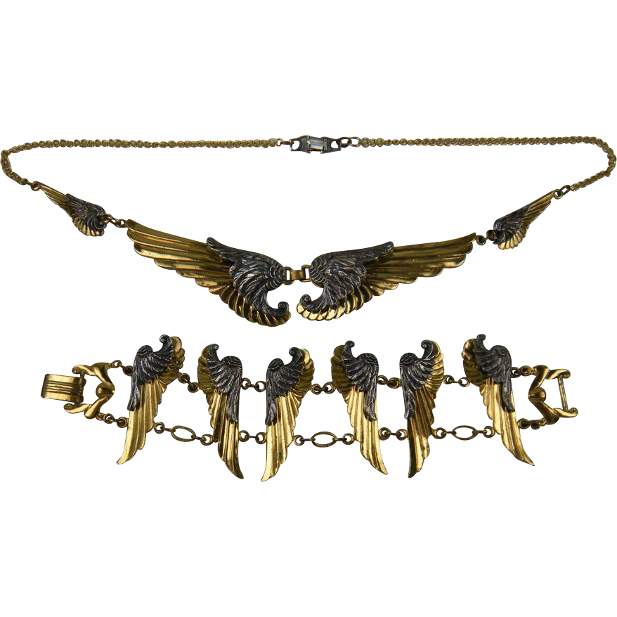 Spectacular and Rare McClelland Barclay Wings Necklace and Matching Bracelet Book Set