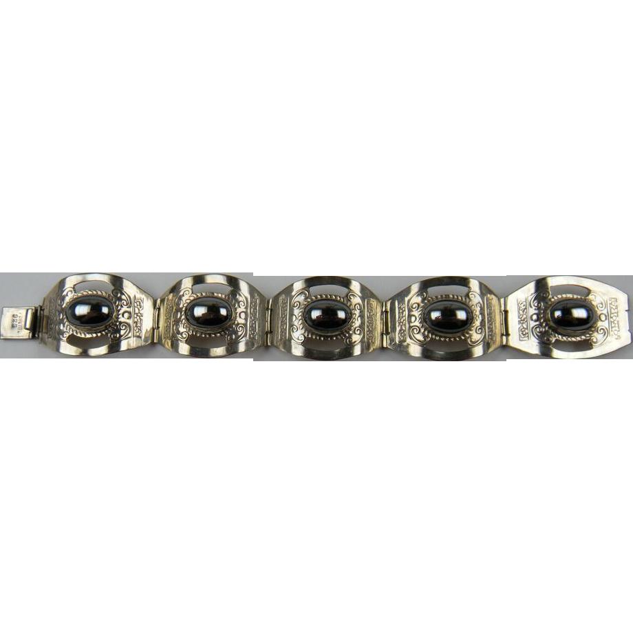 Sterling Silver Link Bracelet with Bezel Set Hematite Cabochons