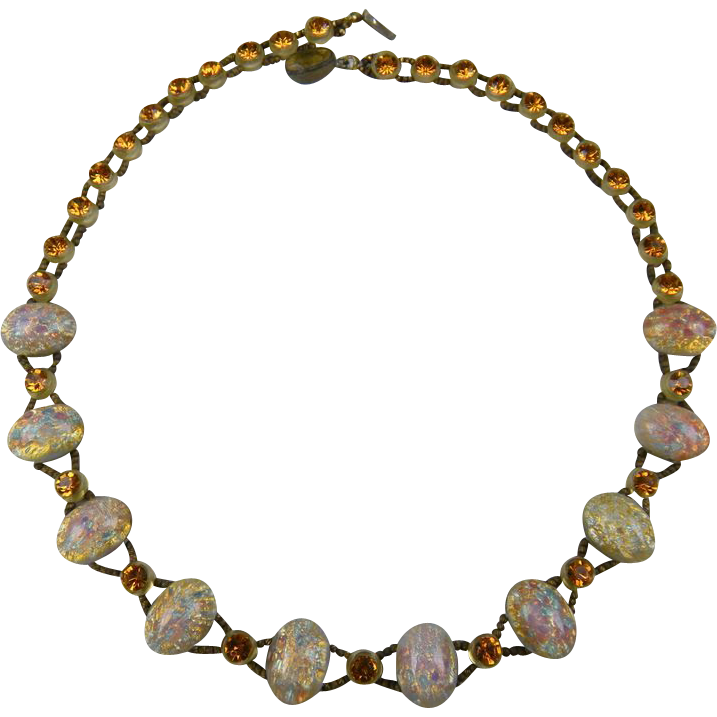 SALE Czech Glass Faux Opal and Golden Topaz Necklace
