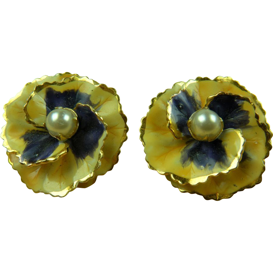 Signed SANDOR Enameled Earrings Pansy with Imitation Pearls