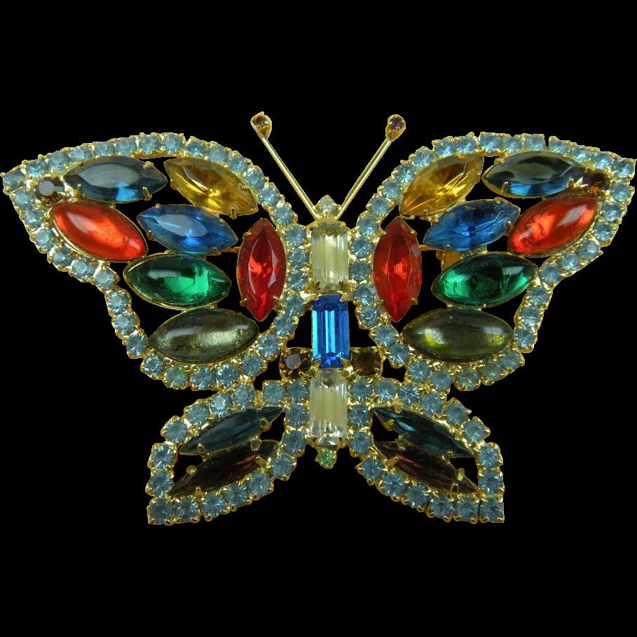 Enormous Juliana (D&E) Butterfly Brooch