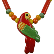 California Ceramics Signed Parrot Pearls and RubyZ Parrot Necklace
