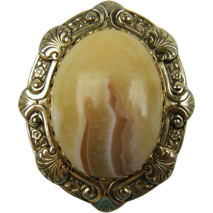 Large Agate Brooch
