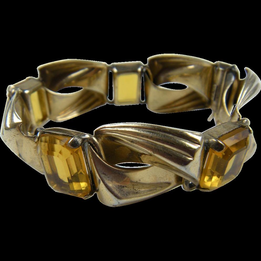 Retro Modern Bracelet with Imitation Golden Topaz Stones