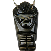 Exotic Obsidian Carved Pendant Necklace