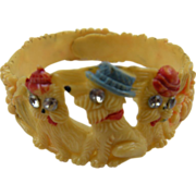 Rare Child's Celluloid Wrap Braclet with Scottie Dogs and Lily of the Valley Motif