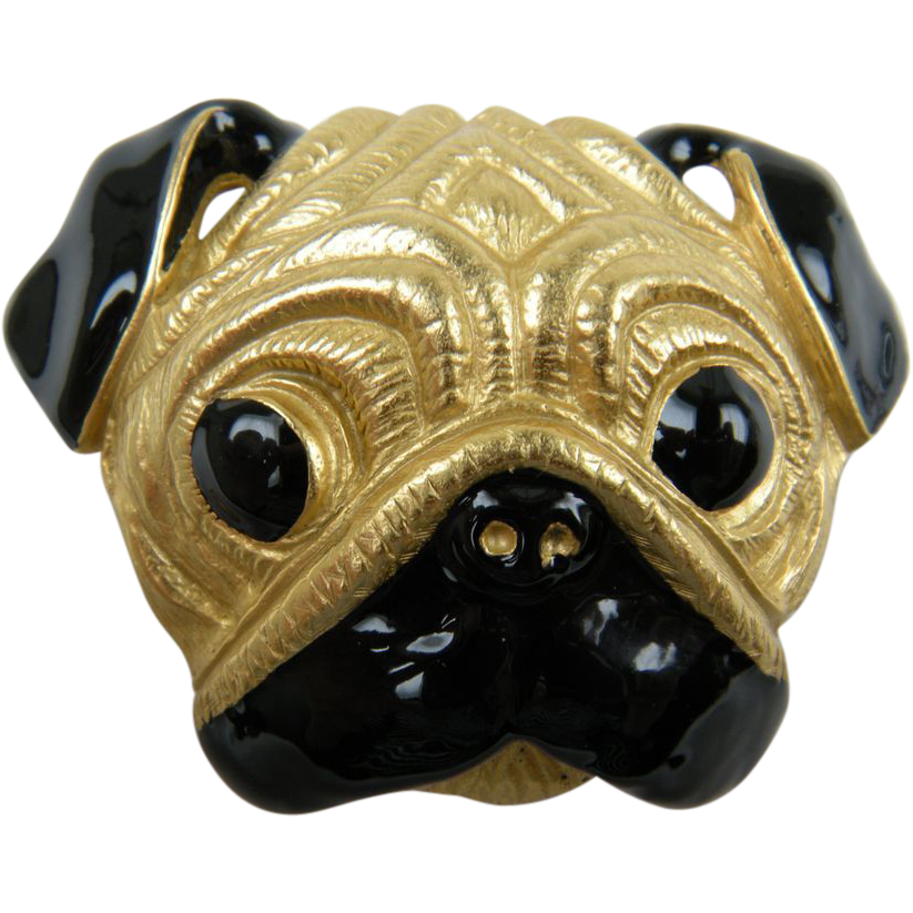 "Signed ""Kenneth Lane"" Duke and Duchess of Windsor Pug Brooch"