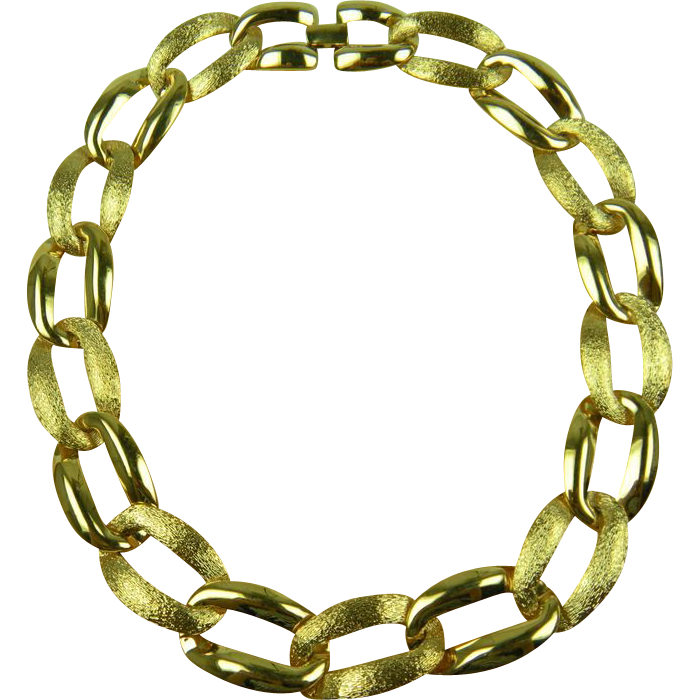 Signed NAPIER Gold Plated Link Necklace