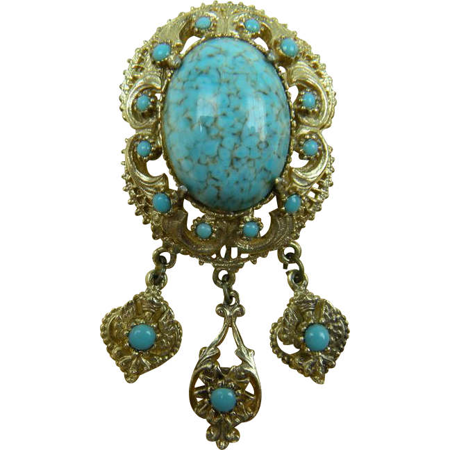 Signed Victorian Revival Brooch with Dangles and Imitation Turquoise Cabochon