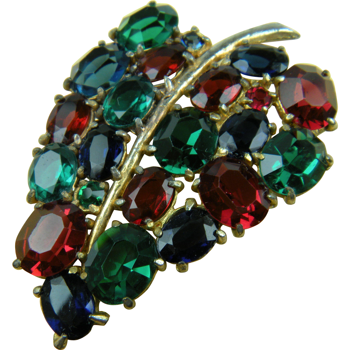 1930's Brooch Pot Metal with Jewel Tone Rhinestones