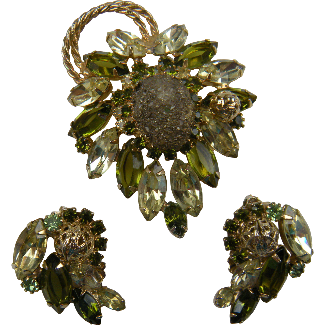 Juliana D&E Sparkling Olivine-Colored Demi Parure