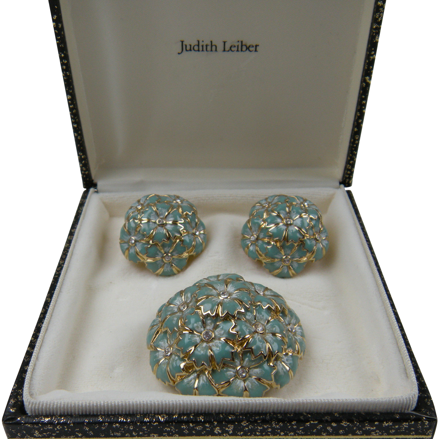 Signed JUDITH LEIBER Brooch with Matching Earrings