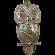 SALE Huge Enameled Owl Pendant Necklace