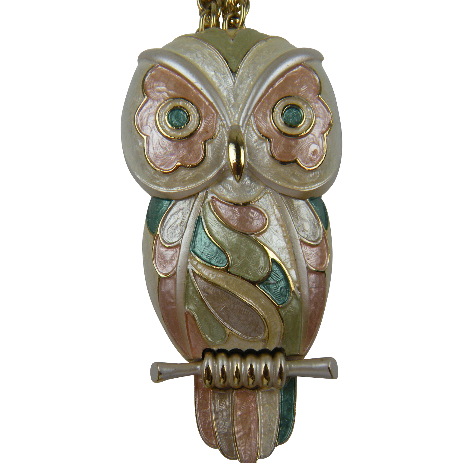 SALE Huge Enameled Owl Pendant Necklace