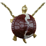 Signed CELEBRITY Resin Turtle Pendant Necklace
