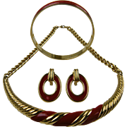 Signed MONET Parure Necklace, Earrings, and Bracelet