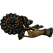 Huge Hand Brooch with Colorful Rhinestones