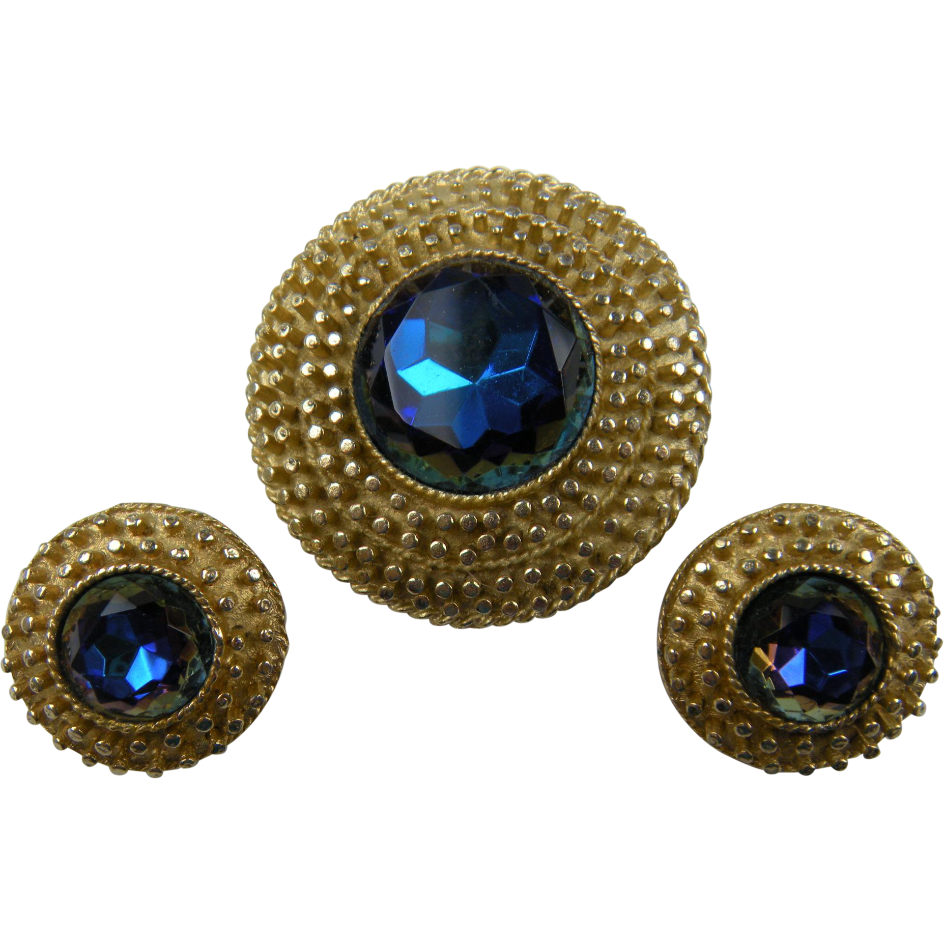 Demi Parure Brooch with Matching Earrings Watermelon Stones
