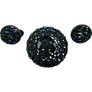 Signed Brooch with Matching Earrings