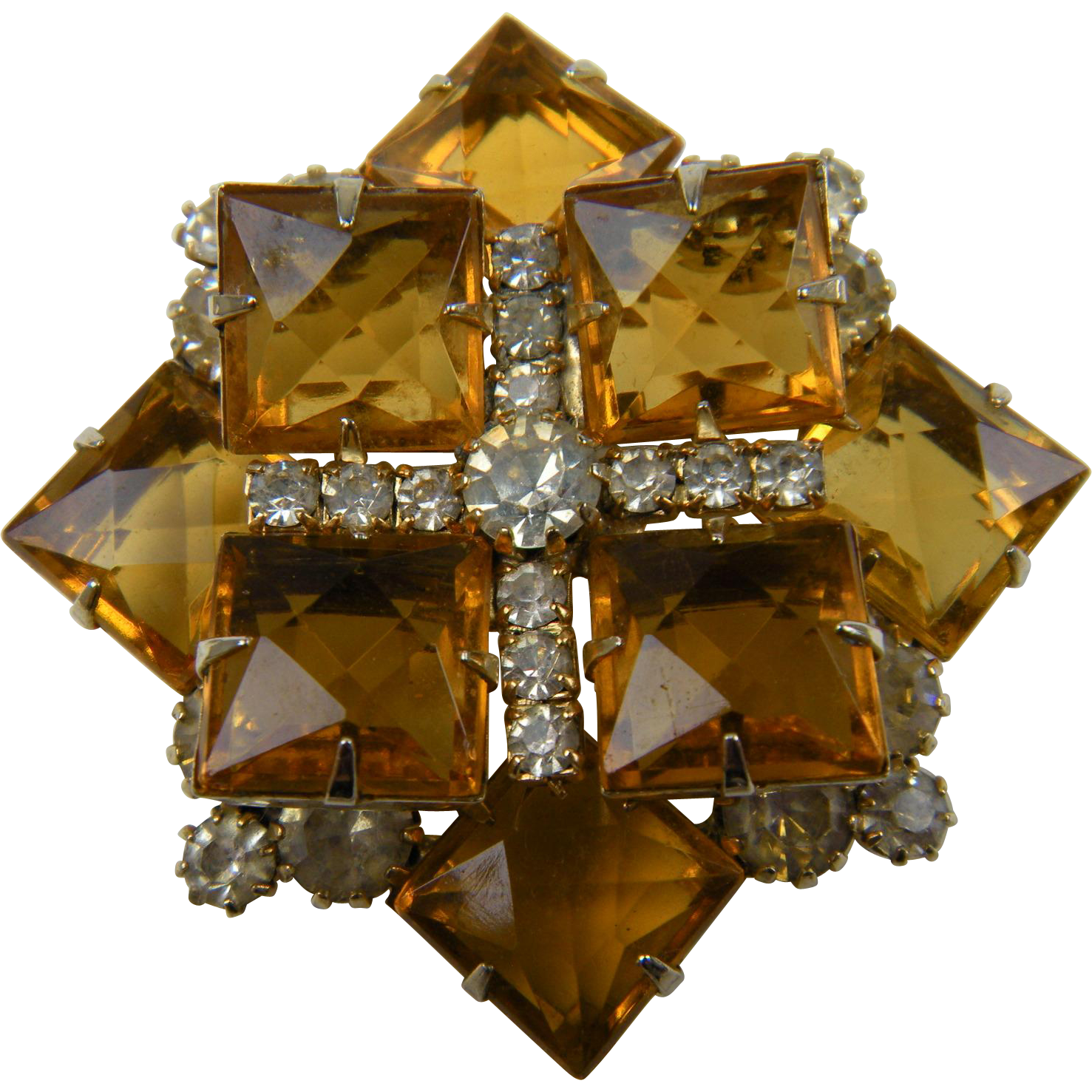 DeLizza and Elster (Juliana) Golden Topaz-Colored Brooch