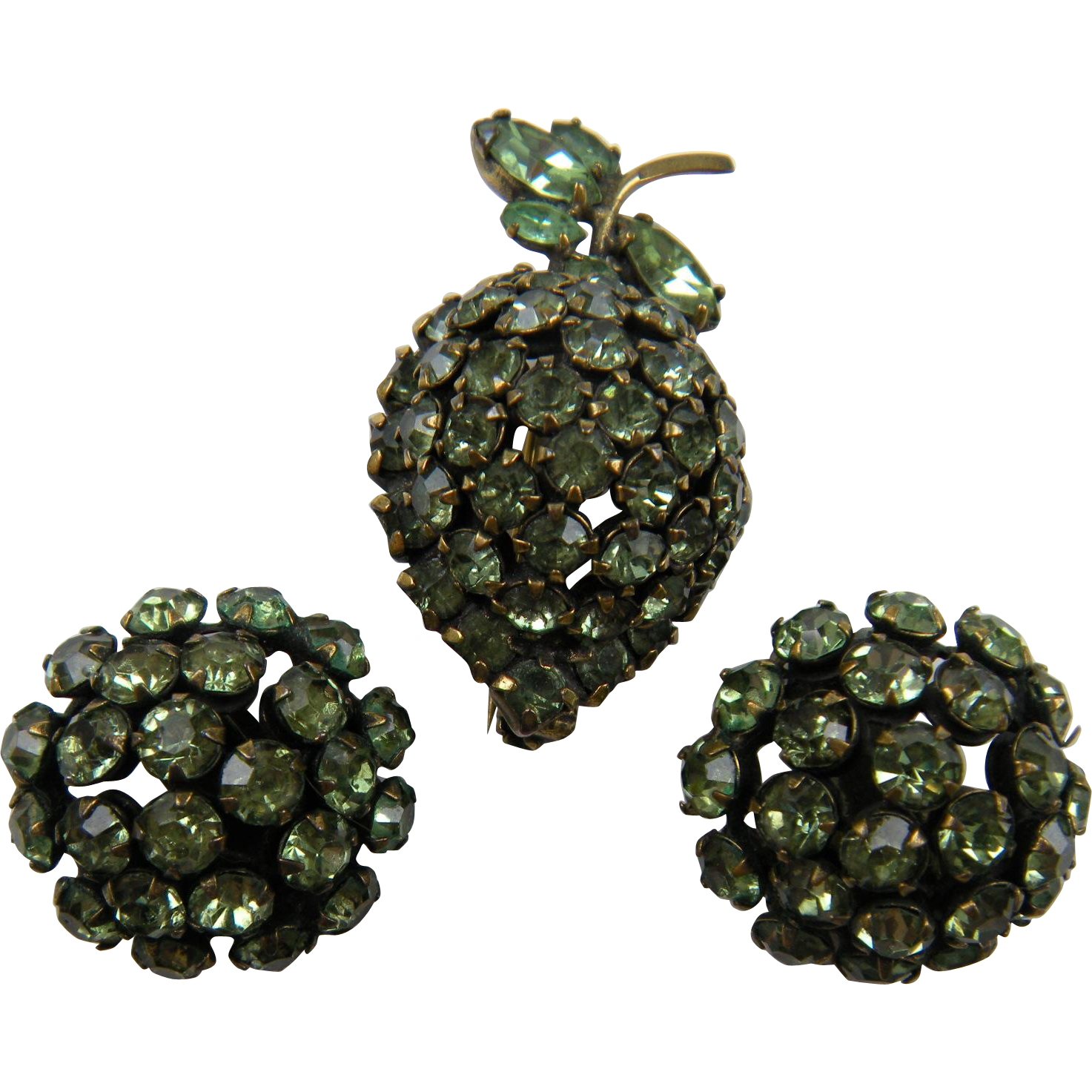 Rare Signed WARNER Fruit Brooch with Matching Earrings