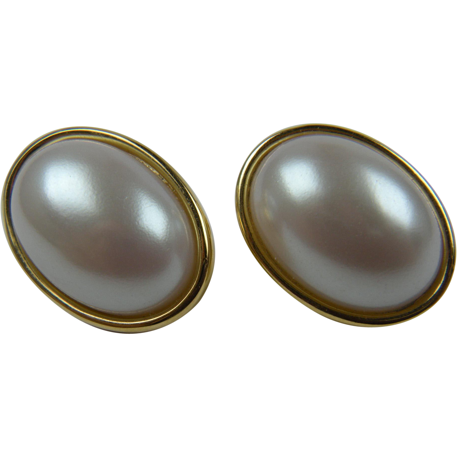 Signed NAPIER Imitation Pearl Earrings with Adjustable Clip Backs