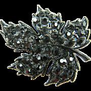 Signed LISNER Japanned Finish Leaf Brooch